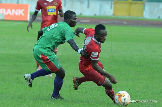 MATCH REPORT - Techiman City 1 Kotoko 1: Amos Frimpong cancels out Stephen Manu's penalty