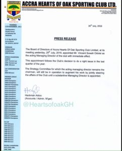 Hearts to keep Strategy Committee despite Vincent Sowah Odotei's appointment as Managing Director