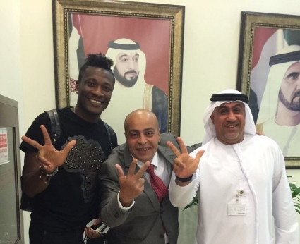 PICTURES: Ghana captain Asamoah Gyan returns to UEA after passing medicals with Al Ahli