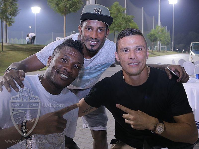 PHOTOS: Ghana Captain Asamoah Gyan meets new teammates at Al Ahli