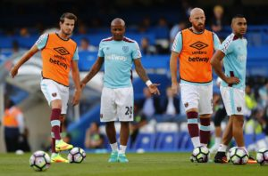Andre Ayew on the bench for West Ham in their EPL game with Everton