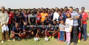 Jay Jay Okocha interacts with Inter Allies