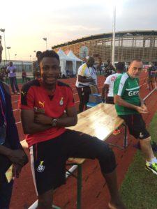 PHOTOS: Injured Baba Rahman watches Black Stars train on Thursday