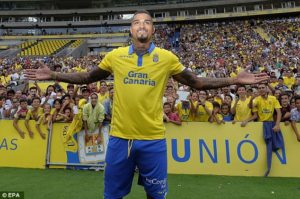 KP Boateng scores his tenth goal of the season for Las Palmas