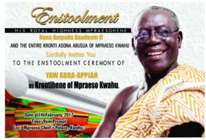 Former PLB Boss Nana Yaw Abra-Appiah crowned as Krontihene of Kwahu Mpraeso