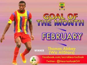 Thomas Abbey wins Hearts of Oak Goal of the Month