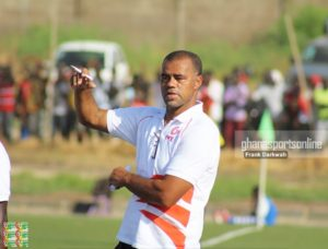 Kotoko Coach Steve Pollack applauds players for victory over Tema Youth