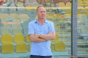 Hearts Coach Frank Nuttal commiserates with Kotoko