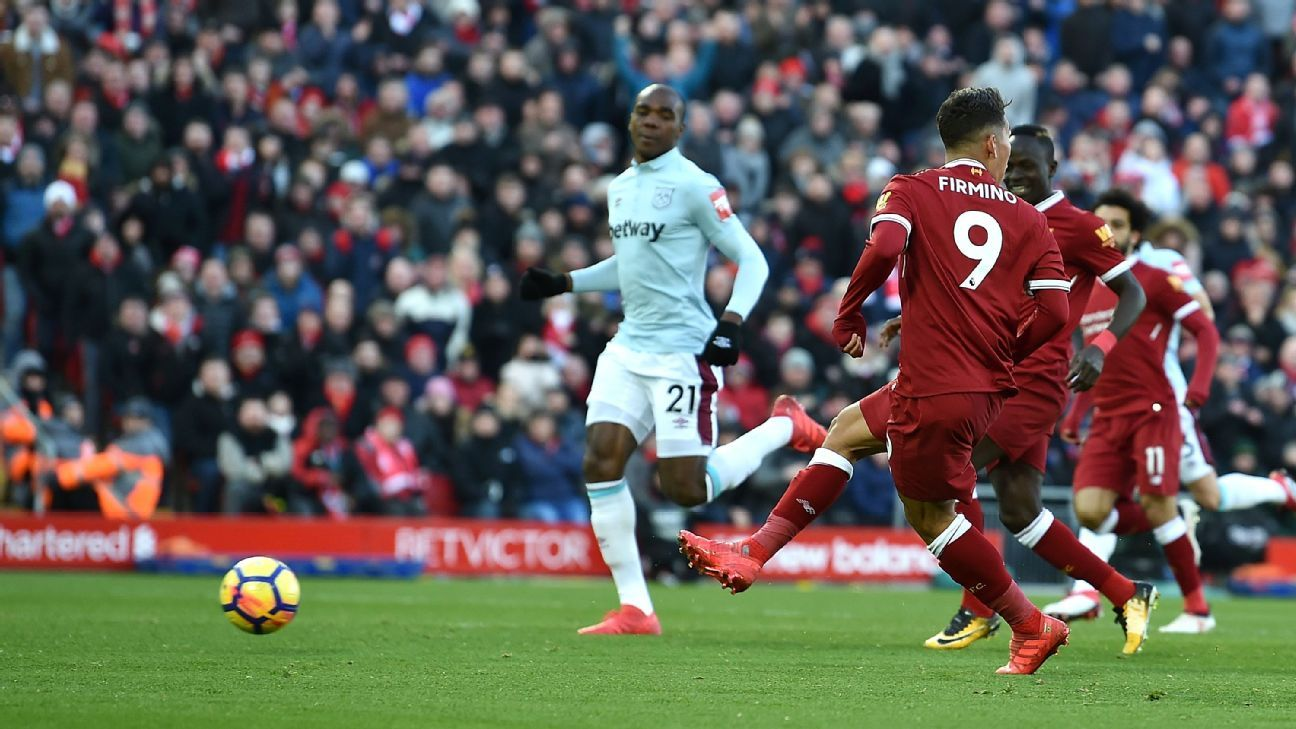 Roberto Firmino, Mohamed Salah and Sadio Mane fire Liverpool past West Ham