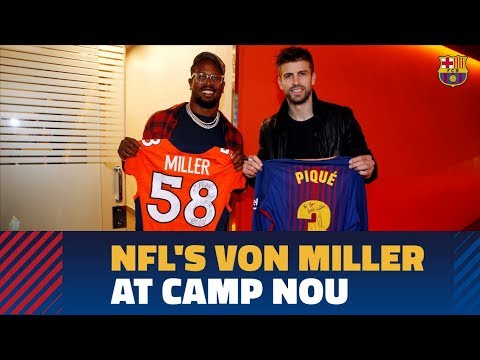 Denver Broncos star Von Miller attends game, meets Gerard Piqué