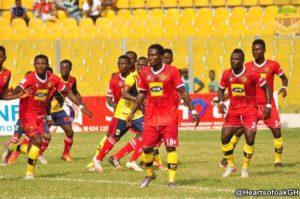 Hearts Board member Thomas Esso congratulates Kotoko for winning President Cup