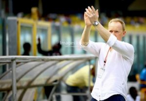 Hearts coach Frank Nuttall applauds Samuel Sukah's performance in Kotoko clash
