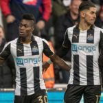 Maxwell Konadu congratulates Christian Atsu on Newcastle's EPL promotion