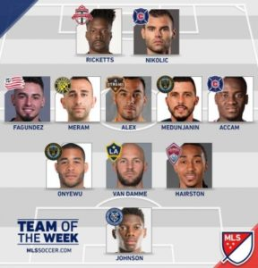 David Accam makes MLS team of the week