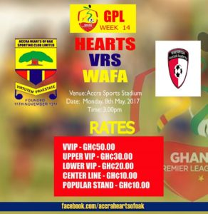 Accra Hearts of Oak announce ticket prices for WAFA duel