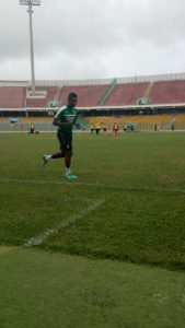 Ghana Captain Asamoah Gyan joins the team at training