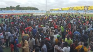 Kotoko fans go ecstatic at the Cape Coast stadium after victory over Dwarfs