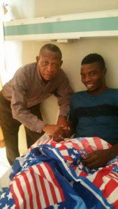 Kotoko legend Abdul Karim Razak visits injured Ollenu Ashitey and Coach Pollack at hospital