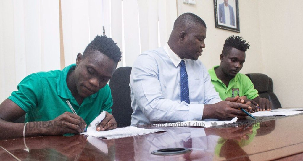 Dreams FC unveil double signings Issah Yakubu and Razak Cromwell from Proud United FC
