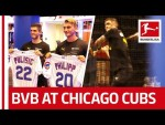 Pulisic shows Philipp how to play Baseball - Borussia Dortmund Stars visit Chicago Cubs