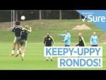 THREE TOUCH RONDOS | Huddersfield vs Man City Training