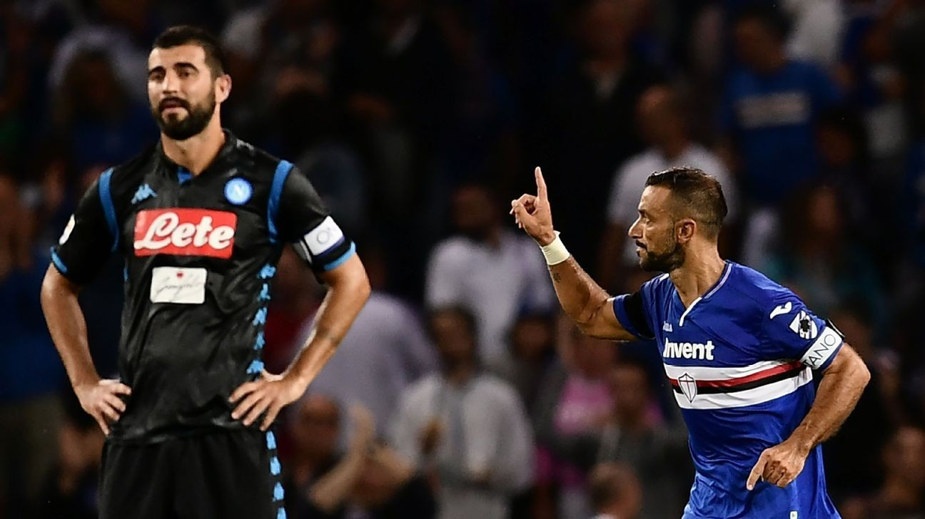 Sampdoria shock Napoli as Fabio Quagliarella nets wonder goal