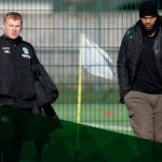 Former Man City defender Joleon Lescott visits Thomas Agyepong in Hibernian training