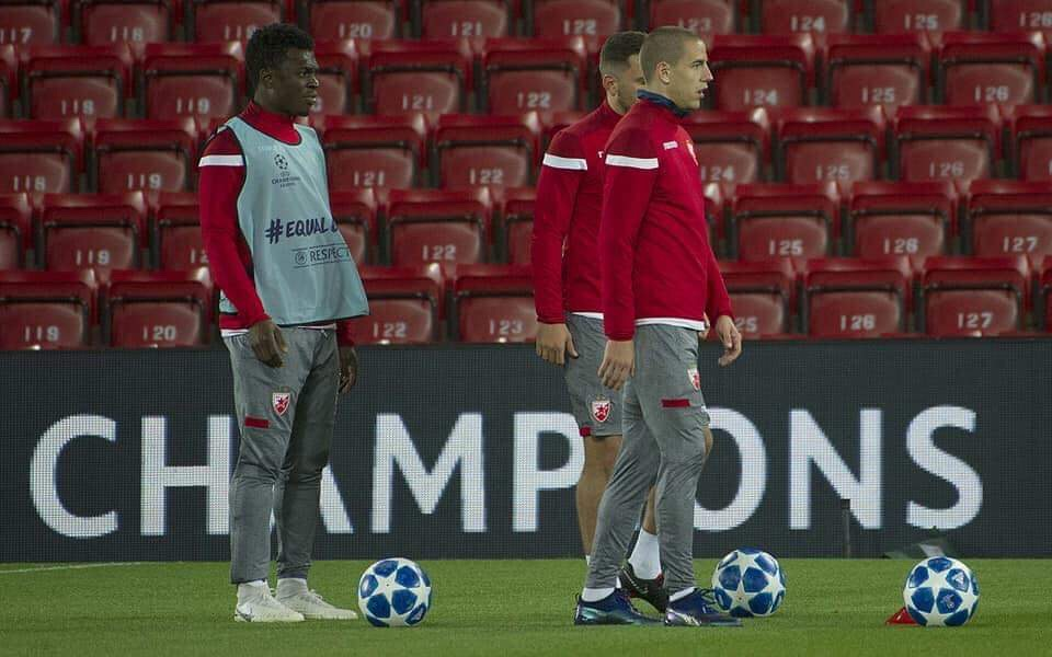 Ghana duo Rashid Sumaila and Boakye Yiadom train with Belgrade ahead of Liverpool clash at Anfield
