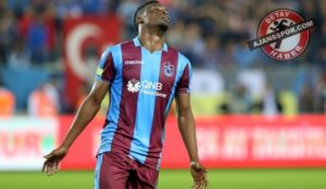 Caleb Ekuban scores his third goal for Trabzonspor after coming off the bench