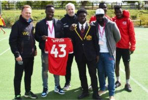 Ghanaian youngster Arvin Appiah advises students of Buckswood Football Academy