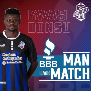 Kwasi Donsu wins man of the match award in Colorado Switchback win over Denver in US Open Cup