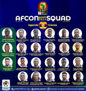 AFCON 2019: Desabre names Uganda Cranes final 23 man squad for AFCON 2019