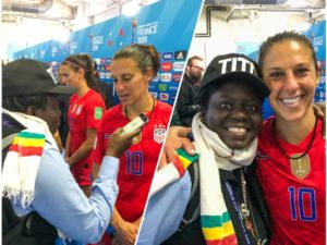 Legend Carli Lloyd recognizes Ghana's only accredited reporter at France 2019