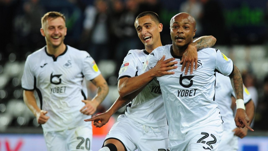 Ghana skipper Andre Ayew climb off the bench to hit brace for Swansea City in Carabao Cup against Northampton Town