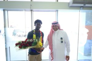 PICTURES: Ghanaian winger Ernest Asante lands in Saudi Arabia to start season with Al-Hazem