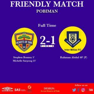 Hearts 2-1 Inter Millas – Phobians record another win ahead of Kotoko meeting