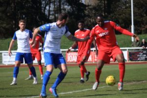 Ghana's Daniel Pappoe scores in Carshalton's huge win over Stortford FC