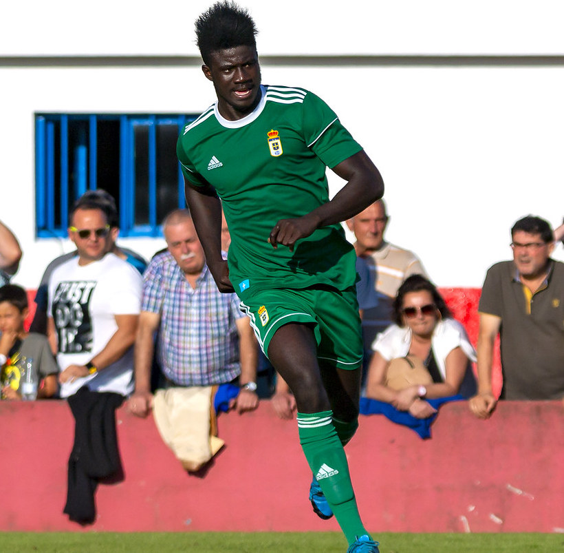Ghanaian attacker Samuel Obeng trains with Real Oviedo first team