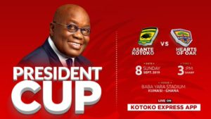 Kotoko vs Hearts confirmed lineups for president cup