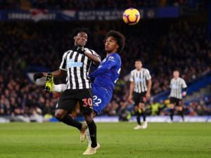 Christian Atsu features in Newcastle's 1-0 defeat to Chelsea
