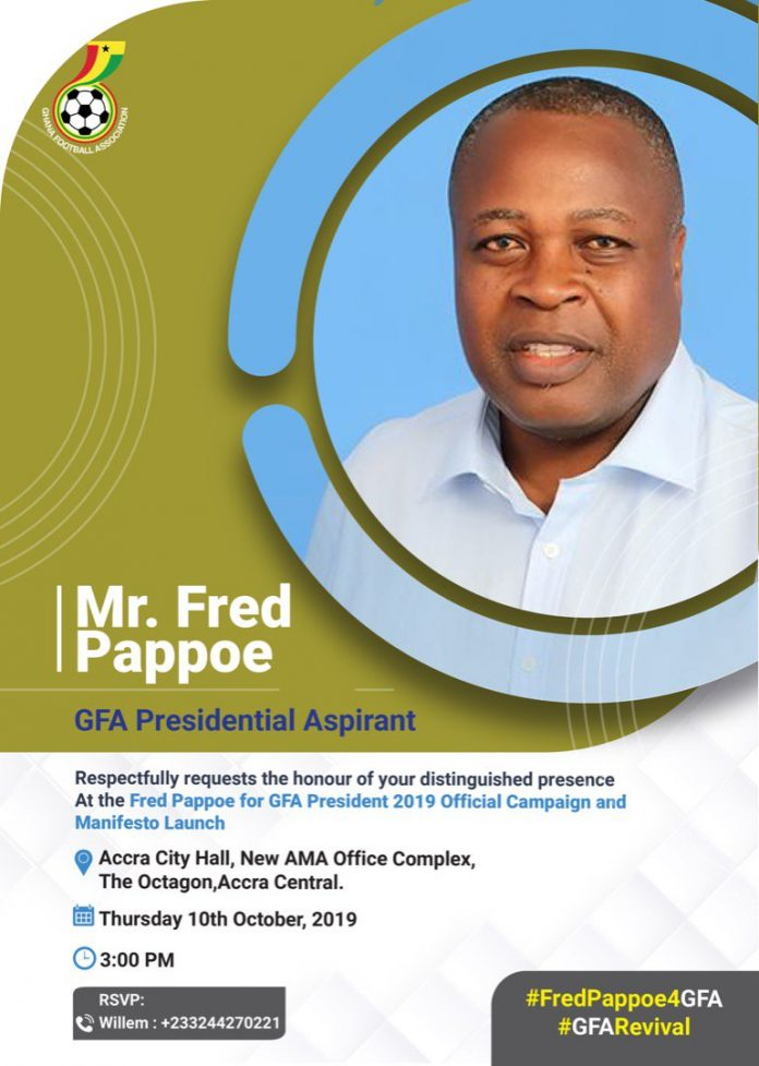 GFA presidential elections: Fred Pappoe launches manifesto in Accra
