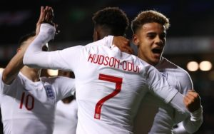 Hudson-Odoi combines with Eddie Nketiah to produce 5 goals as England u-21 thrash Austria