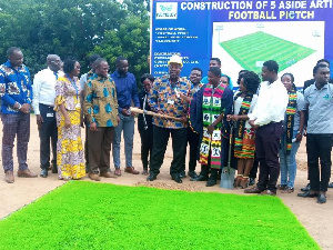 GTUC boss cuts sod for construction of five-a-side football pitch