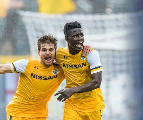 Ghanaian forward Ropapa Mensah on target as Pittsburgh Riverhounds thrash New York Red Bulls II