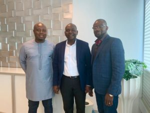 Kurt Okraku hangs out with managers of Universal Merchant Bank