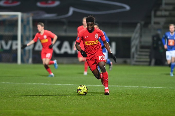 Mohammed Kudus sees red after scoring vital goal FC Nordsjælland in their draw against Lyngby