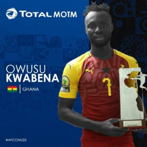 CAF U-23 AFCON: Kwabena Owusu adjudged man of the match in Ghana's win against Mali
