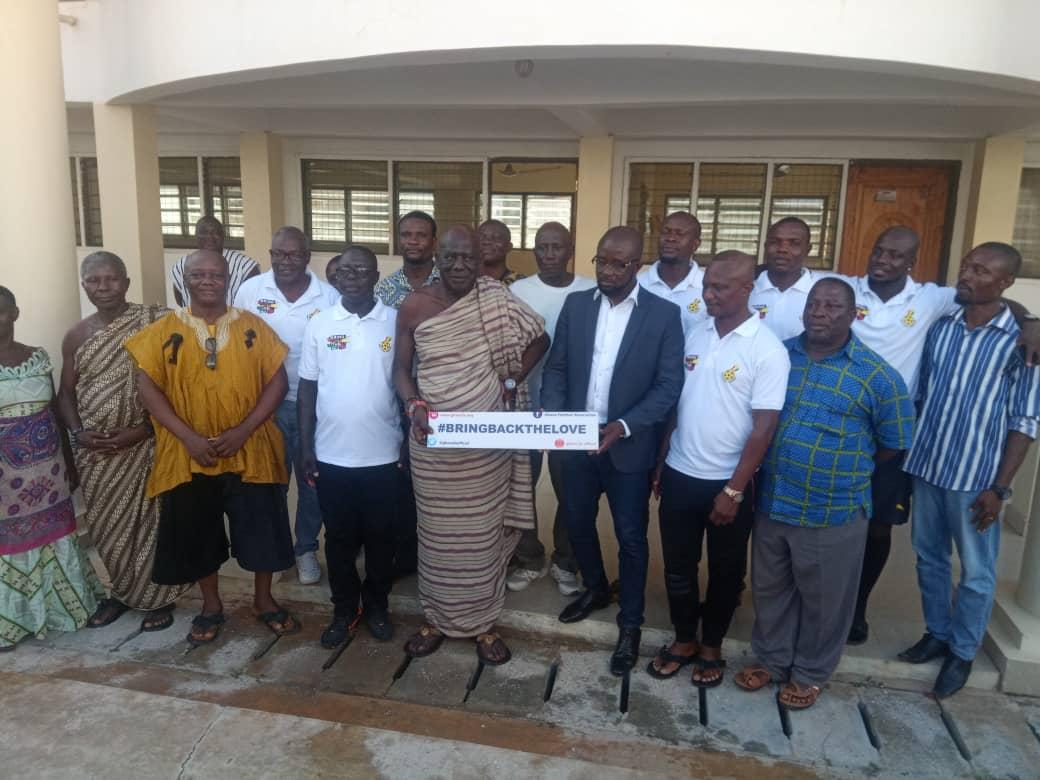 GFA president Kurt Okraku leads Black Stars to pay courtesy call on 'Oguaaman Hene'