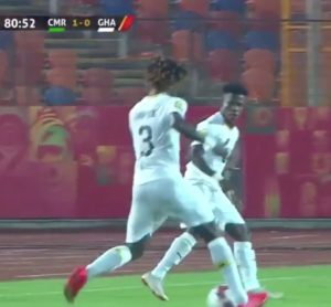 CAF U-23 AFCON: Watch how Ghana's Edward Sarpong left Cameroon's Eric Mbu Ayuk in the mud [VIDEO]