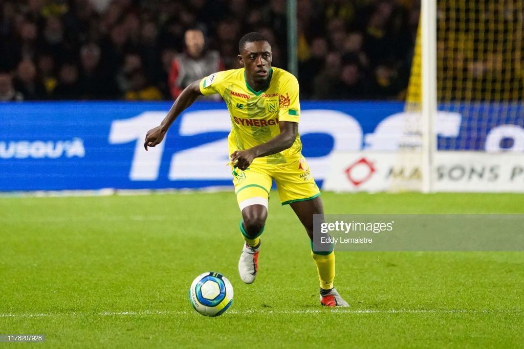 Dennis Appiah reacts to Nantes victory over Bordeaux